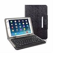 10.1 inches Tablet Case with Magnetic Closure and Detachable Rechargeable Bluetooth Keyboard - Black